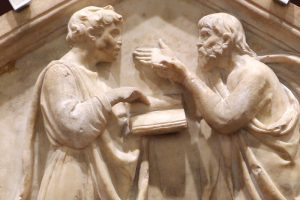 Luca della robbia, platone e aristotele ovvero la dialettica, 1437-39, dal lato nord del campanile (Sailko, Wikimedia)