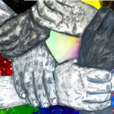 Queerschluss poster with image of linked hands