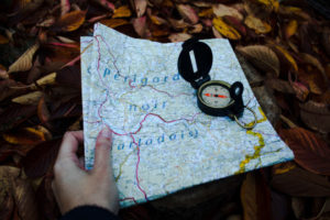 Decorative photo of map and compass