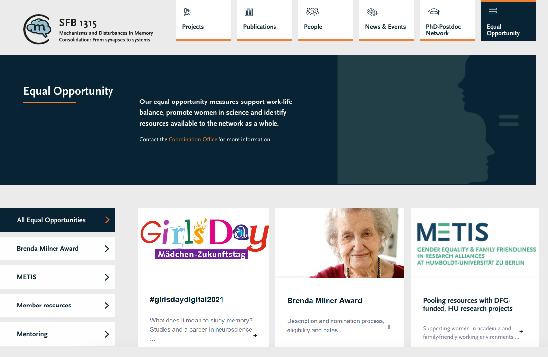 Screenshot of CRC 1315's equal opportunities page